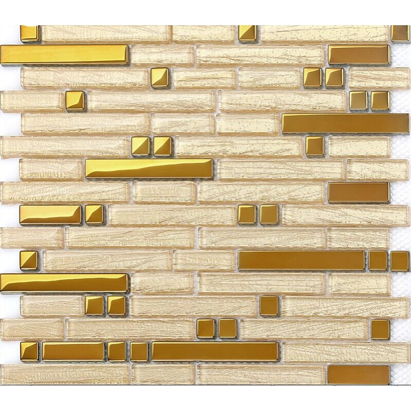 Gold Metal Backsplash Tiles Interlocking Stainless Steel Mosaic Crystal Gl Subway Tile B902