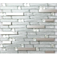 Metal Backsplash Tiles Silver Stainless Steel & Glass Mosaic Crystal Diamond Tile Wall Decor GSD903
