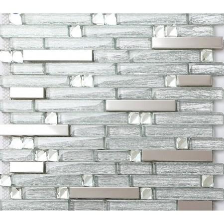 Metal Backsplash Tiles Silver Stainless Steel & Glass Mosaic Crystal Diamond Tile Wall Decor GSD903
