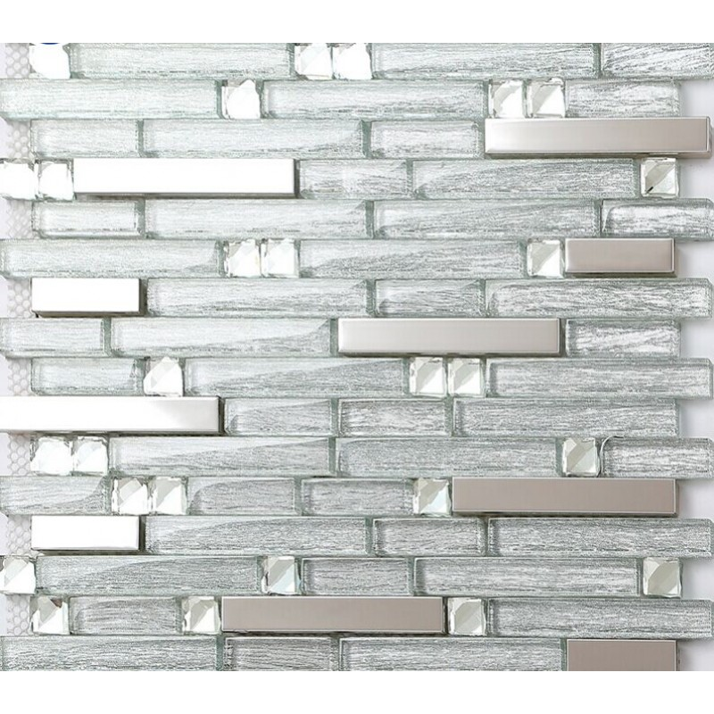 Steel Backsplash Tiles: Metal Backsplash Tiles Silver Stainless Steel & Glass