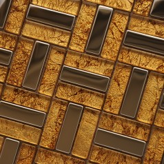 Metallic Backsplash Tiles Stainless Steel Sheet Metal and Gold Crystal Glass Blend Mosaic Tiles