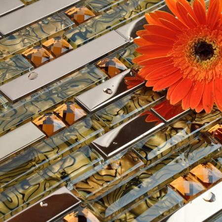 Metallic Backsplash Tiles 304 Stainless Steel Sheet Metal Shell Art Crystal Glass Blend Mosaic Wall