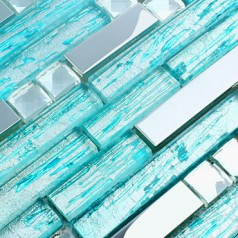 Cyan Glass Silver Metal Tiles Backsplash Diamond Stainless Steel Mosaic Bathroom Teal Blue Tile