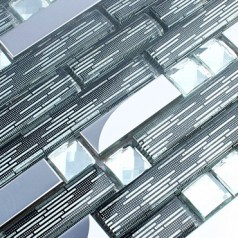 Diamond Crystal Tile Backsplash Silver Stainless Steel Metal Tiles Clear Glass Mosaic Patterns DGS32