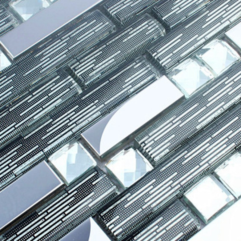 Diamond Crystal Tile Backsplash Silver Stainless Steel Metal Tiles