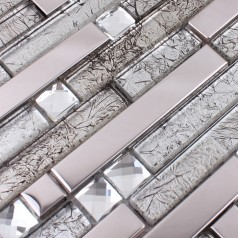 Metallic Backsplash Tile Diamond Stainless Steel Metal and Crystal Glass Mosaic Wall Decor HC-119