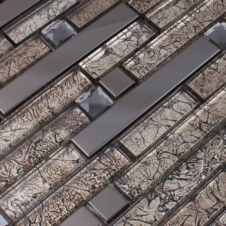 Metallic Backsplash Tile Diamond Silver Stainless Steel Metal and Crystal Glass Mosaic Wall Decor HC-121