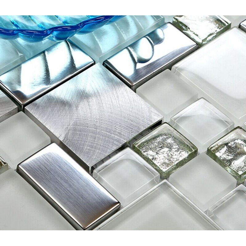 backsplash tile brushed aluminum tiles silver metal and glass mosaic kitchen wall decor jy63 - Floor And Decor Backsplash