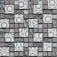 Metal Backsplash Tiles Stainless Steel Backsplash Metal Tile Hand Painted Crystal Glass Mosaic Wall Decor KK1005