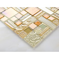 tan crystal glass tile brushed aluminum tile glass and metal mosaic bathroom wall tile hall backsplashes decor KLCH09
