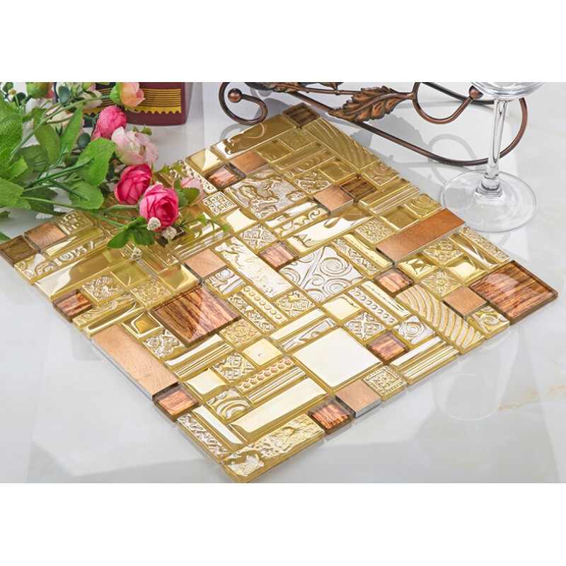 crystal glass mosaic tile copper aluminum tiles textured glass ...