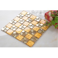 gold crystal glass tile stainless steel backsplash metal and glass mosaic sheets bathroom wall backsplashes KLGT4028
