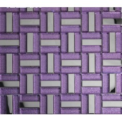 purple strip glass mosaic tile silver stainless steel backsplash metal tile shower wall designs KLGT627