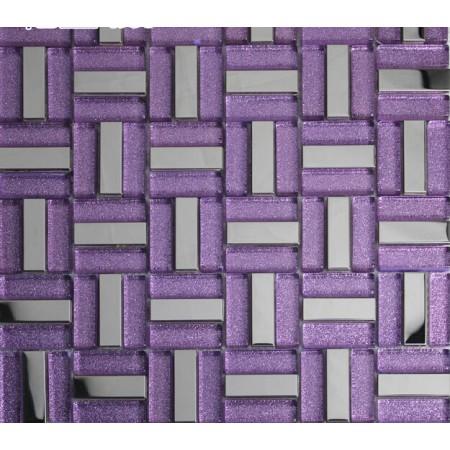 purple strip glass mosaic tile silver stainless steel backsplash metal tile shower wall designs KLGT627