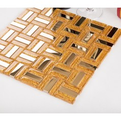 gold mosaic tile sheets stainless steel tile crystal glass diamond design wall backsplash decor KLGTC80
