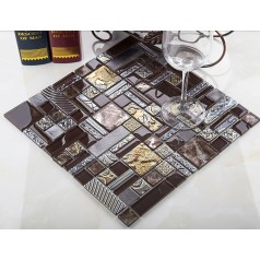 brown crystal glass mosaic tile brushed aluminum tile wall backsplashes pattern natural marble stone tiles KLGTH03