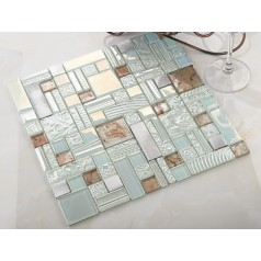 light blue crystal glass mosaic tile brushed aluminum metal tile backsplash bathroom wall tiles backsplashes KLGTH05