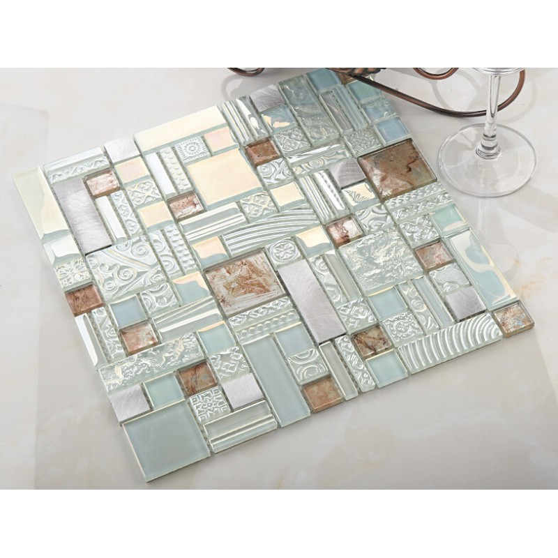 cream crystal glass mosaic tile 304 stainless steel metal tile wall