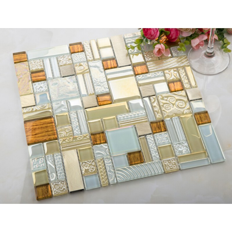 white crystal glass mosaic tile gold 304 stainless steel metal tile ...