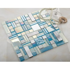 blue crystal glass mosaic tile sheets silver aluminum accent metal tile kitchen wall backsplashes KLGTH10
