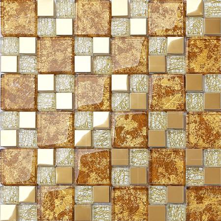 crystal glass mosaic gold metal tiles stainless steel backsplash design wall tile hall backsplashes stainless steel KLGTJ02