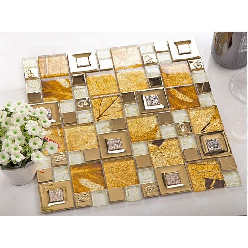 Gold 304 Stainless Steel Metal Tiles Crystal Gl Mosaic Tile Wall