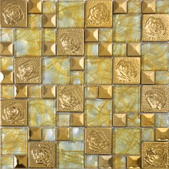 gold stainless steel flower patterns metal and glass mosaic tiles pyramid crystal glass wall stickers kitchen backsplash cheap KLGTN8