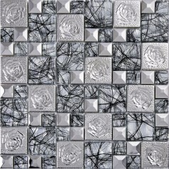 silver 304 stainless steel flower patterns crystal glass mosaic tile glass and metal wall tiles stickers kitchen backsplash decor KLGTN9