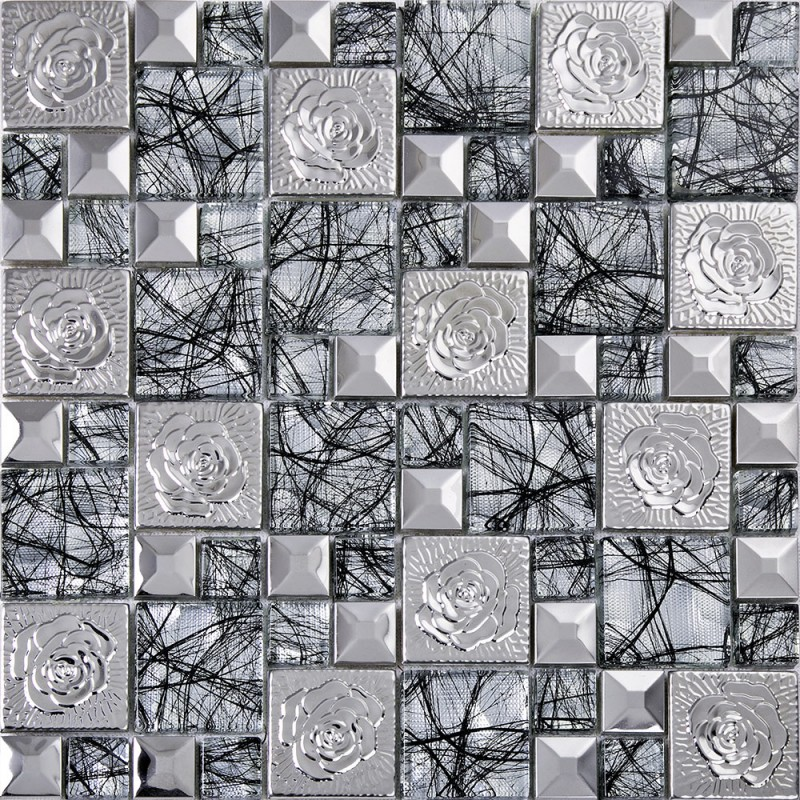 Stainless Steel Pattern Gray Glass Mosaic Tile: Silver 304 Stainless Steel Mosaic Tile Glass Art Mirror