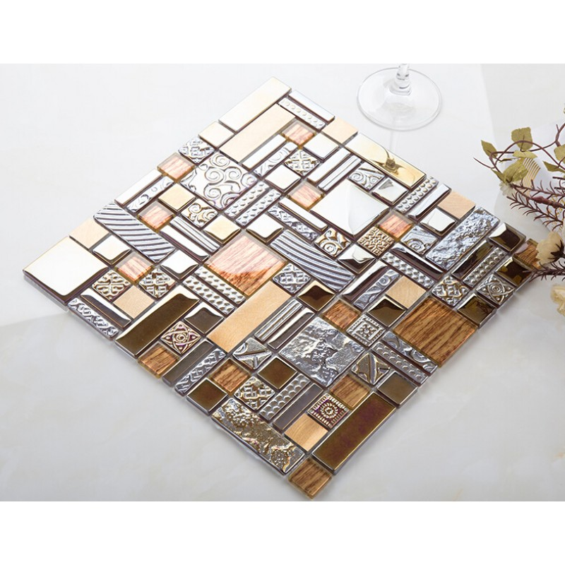Crystal Glass Mosaic Kitchen Tile Copper Aluminum Tiles