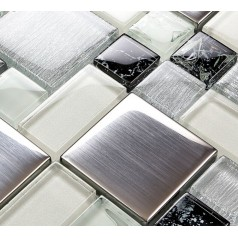 Metallic Backsplash Tile Brushed Stainless Steel Metal Tiles Crackle Glass Mosaic Wall Decor LS53