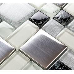 Metallic Backsplash Tile Brushed Stainless Steel Metal Tiles Crackle Glass Mosaic Wall Decor LS53