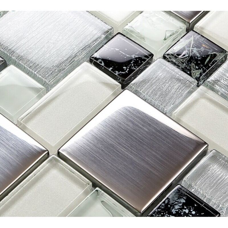 Metallic Backsplash Tile Brushed Stainless Steel Metal Tiles Crackle Glass  Mosaic Wall Decor LS53 ...