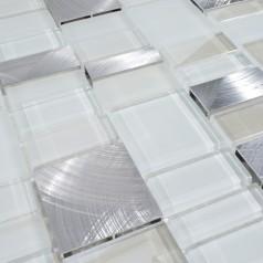 Metal and Glass Tile Backsplash Cheap Brush Aluminum Tiles Crystal Mosaic Wall Decor MG007