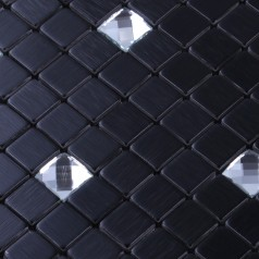 Metallic Backsplash Tiles Black Adhesive tile Sheet Metal and Silver Crystal Glass Blend Mosaic