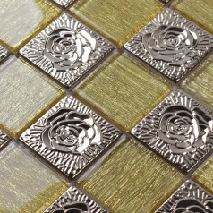 Metal and Glass Tile Backsplash Silver Stainless Steel and Gold Crystal Glass Mosaic Wall Tiles