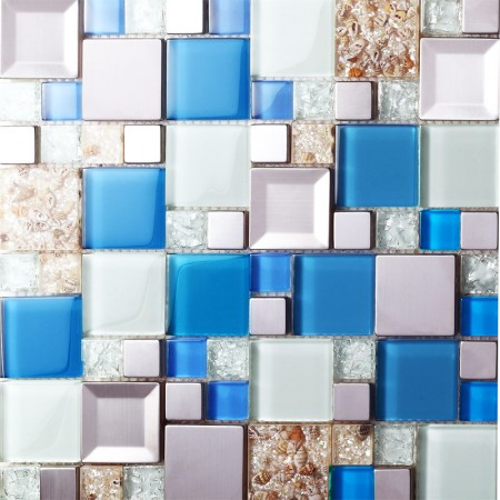 blue crackle glass tile kitchen wall TV wall backsplashes stainless steel resin conch tiles SBLT203