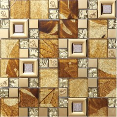 gold crystal glass mosaic kitchen tile stainless steel backsplash bathroom wall backsplashes SBLT801