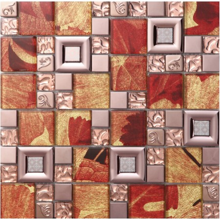 red crystal glass mosaic tile stainless steel backsplash metal wall backsplashes SBLT802