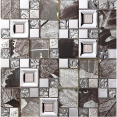 crystal glass mosaice tile silver stainless steel backsplash metal wall backsplashes SBLT803
