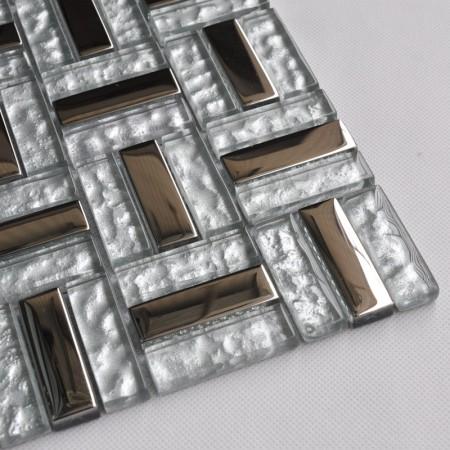 Silver Stainless Steel Backsplash Clear Crystal Glass Tile Metal Mosaic Random Wave Pattern