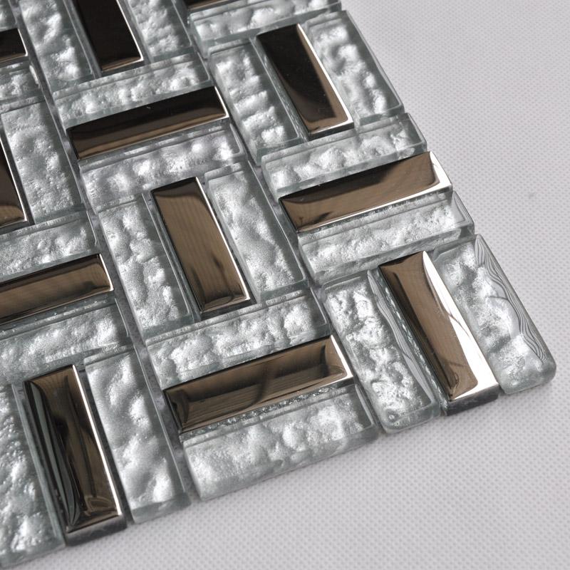 Silver Stainless Steel Backsplash Clear Glass Tile Metal ...