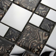 Metallic Backsplash Tiles Silver 304 Stainless Ice Crack Metal and Crystal Glass Blend Mosaic Wall