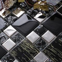 Metallic Backsplash Tiles Silver 304 Stainless Ice Crack Metal and Crystal Glass Blend Mosaic Wall