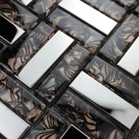 Metallic Backsplash Tiles Silver 304 Stainless Strip Sheet Metal and Crystal Glass Blend Mosaic Wall