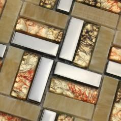 Metallic Backsplash Tiles Silver 304 Stainless Strip Sheet Metal Marble Crystal Glass Blend Mosaic