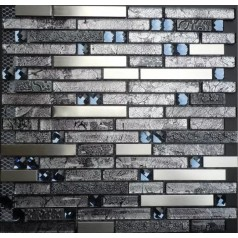 Stainless Steel Glass Diamond Metallic Backsplash Grey Metal Tile Kitchen Mosaic Wall