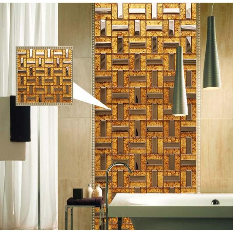 Metal And Glass Tile Stainless Steel Backsplash Wall Tile