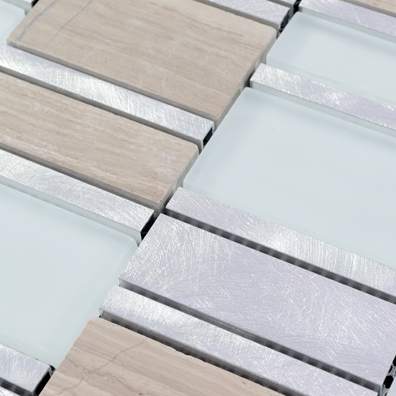 Stone and glass tile brushed aluminum silver metal wall tiles hand painted marble tile - Silver tin backsplash tiles ...