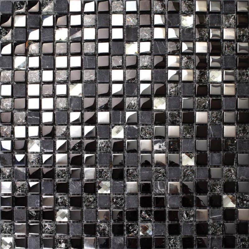 Metal glass backsplash diamond crystal tile crackle mosaic marble - Mosaic kitchen ...
